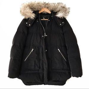 Zara Woman Down Puffer Jacket Faux Fur XL Black